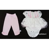 """Smėlinukas/suknelė su kelnytėmis """"Rožiniai kaspinėliai"""""""